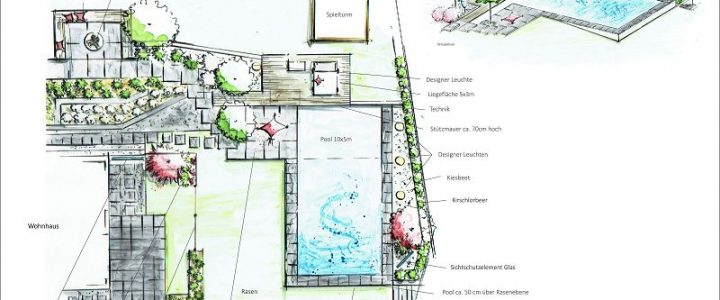 Garten mit Pool und abgeschlossenem Garten der Einliegerwohnung