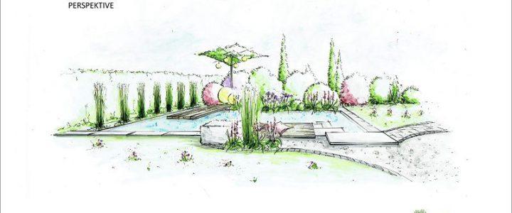 Naturgarten mit Gemüseecke, Feuerstelle und Schwimmteich