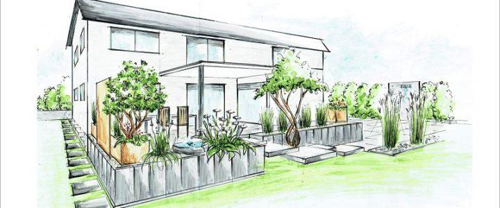 Terrasse auf zwei Ebenen mit Pool